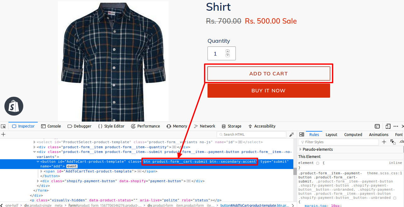 Shopify Product Variants in Table